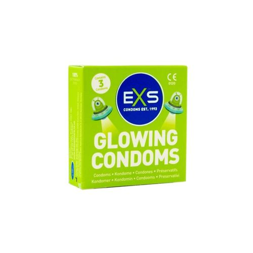 EXS Glow in the Dark 3 pcs, condom that you can see in the dark